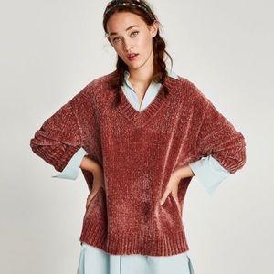 Zara Copper Pink Chenille V-neck Sweater